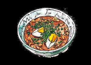 鶏皮モツの赤ワインデミ味噌煮込み